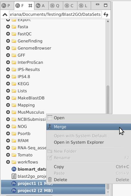 merge Blast2GO projects