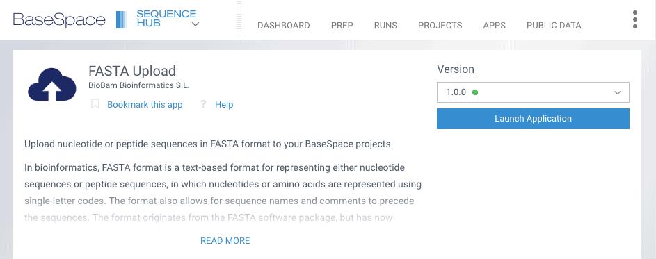 ScreenShot Fasta Uploader BaseSpace Illumina App